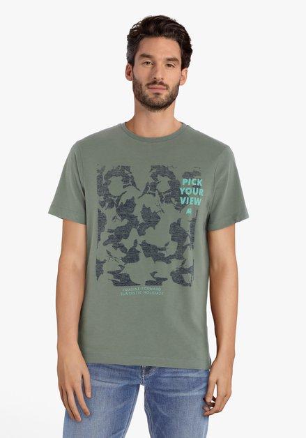 T-shirt vert avec impression et col rond