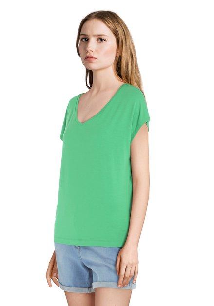 T-shirt vert basique à encolure en V