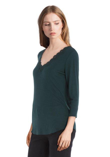 T-shirt vert foncé avec dentelle