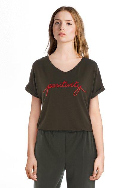 T-shirt vert foncé 'Positivity'