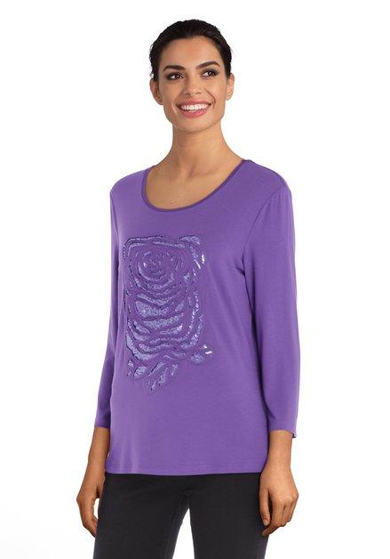 T-shirt violet à paillettes