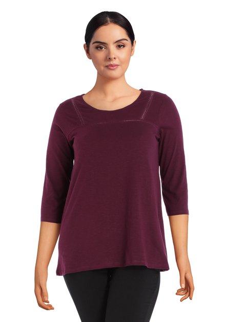 T-shirt violet foncé avec ajour