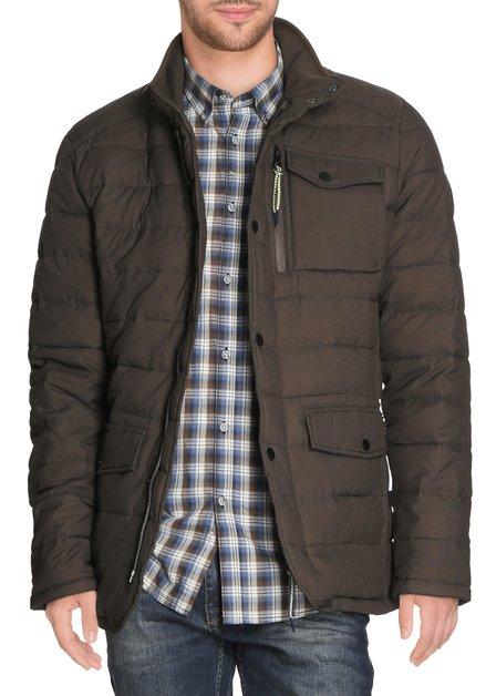 Taupe gematelasseerde jas
