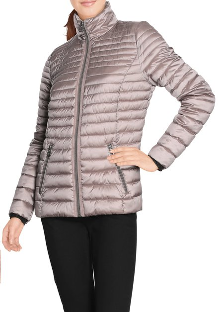 Taupe gematelasseerde jas met rits