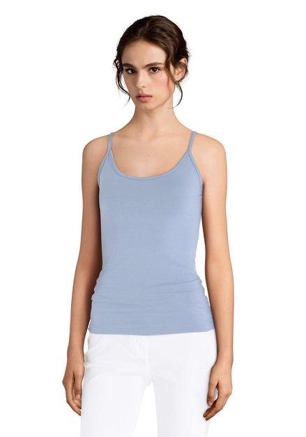 Top bleu clair à fines bretelles ajustables