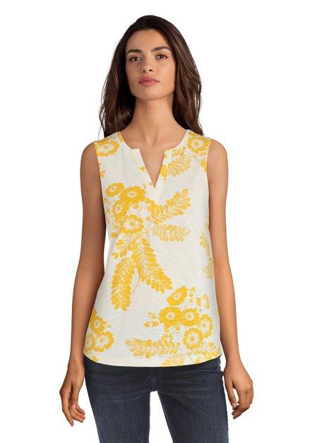 Top écru avec un imprimé à fleurs jaune