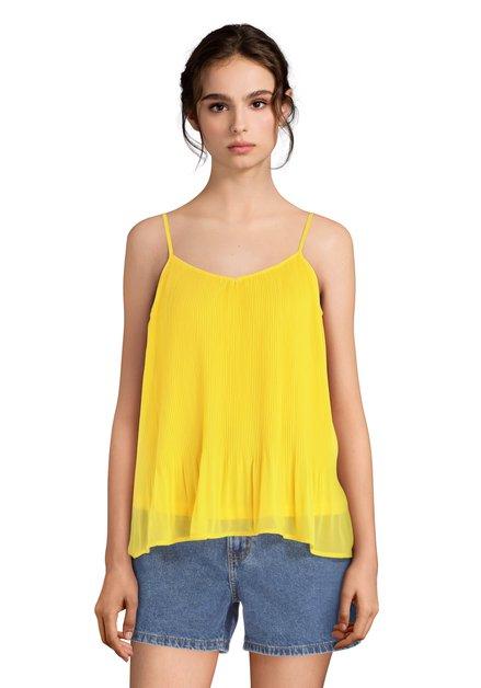 Top jaune vif plissé