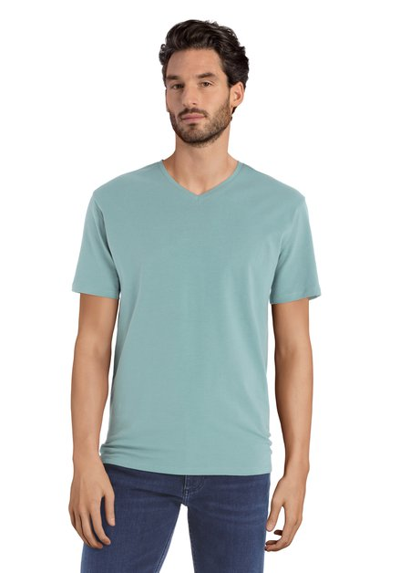 Turquois T-shirt met V-hals