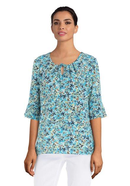 Turquoise blouse met bloemenprint