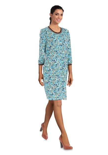 Turquoise jurk met bloemenprint