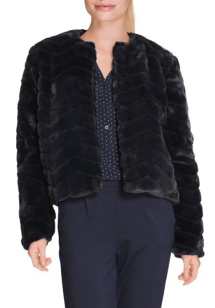 Veste bleu-noir en imitation fourrure