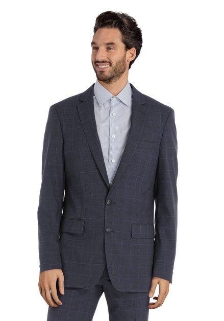Veste de costume à carreaux gris foncé