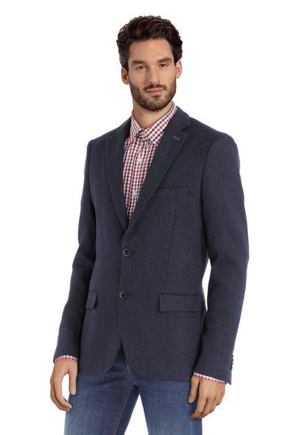 Veste de costume bleu foncé en tissu structuré