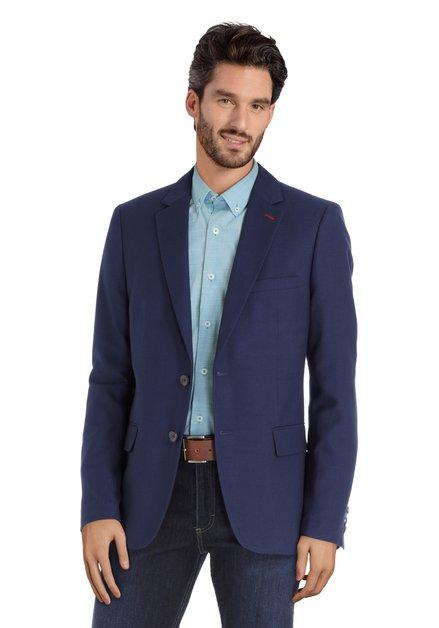 Veste de costume bleu foncé en tissu structuré fin