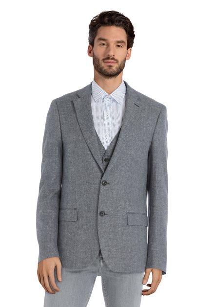 Veste de costume bleu-gris en tissu structuré fin