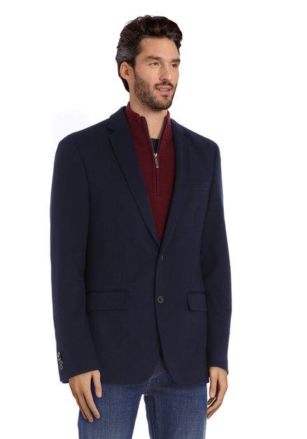 Veste de costume bleu marine en tissu texturé