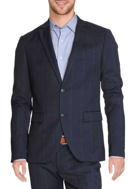 Veste de costume bleue à carreaux Porto - Slim fit