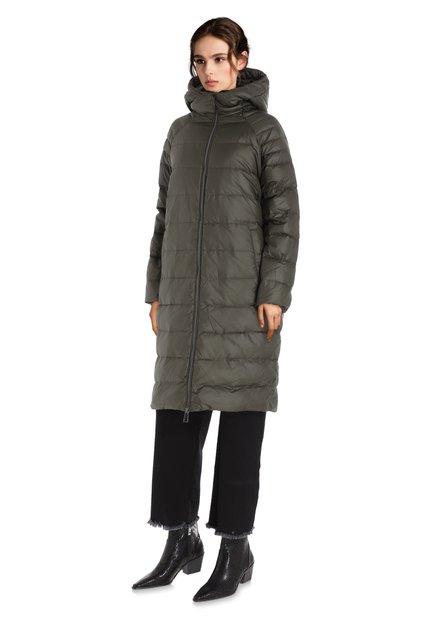Veste en duvet kaki avec capuche amovible