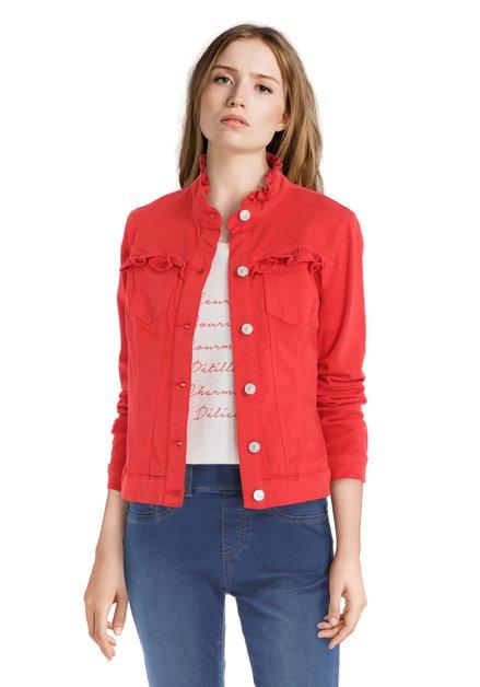 Veste en jean rouge avec ruches