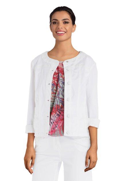 Veste en jeans blanc avec couture décorative