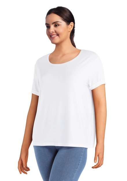 Wit basic T-shirt met ronde hals