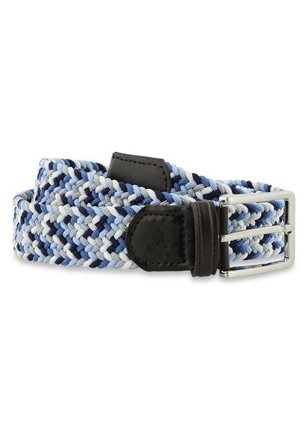 Wit en blauw gevlochten riem