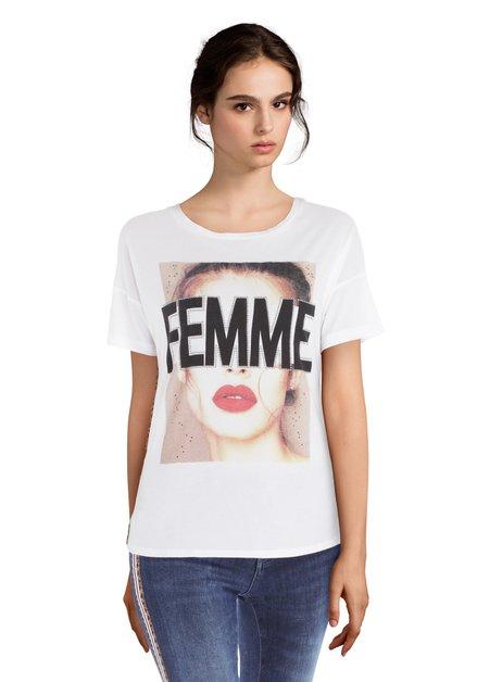 Wit 'Femme' T-shirt met studs
