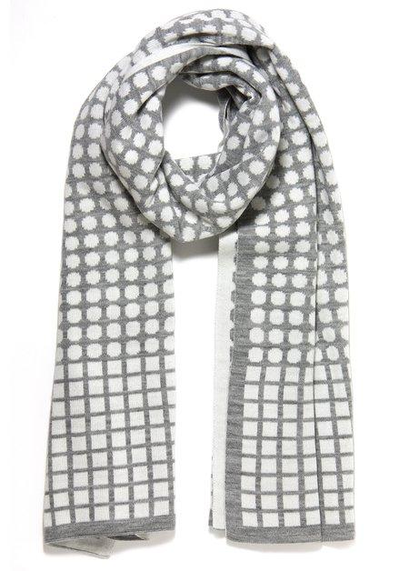 Wit-grijze sjaal met geometrische print