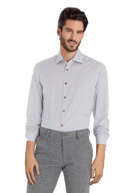 Wit hemd met antraciet strepen - slim fit