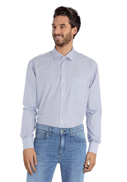 Wit hemd met blauw miniprint – comfort fit