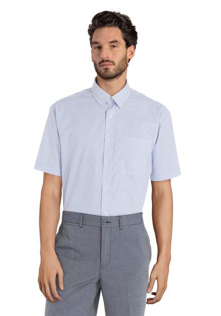 Wit hemd met blauw motief - Carlos – comfort fit