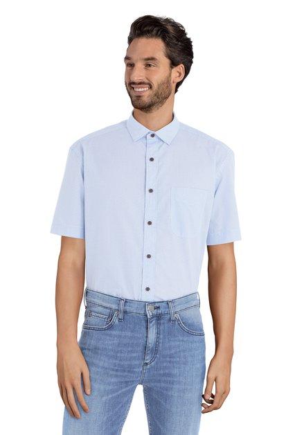 Wit hemd met blauw motief - Cedric – comfort fit