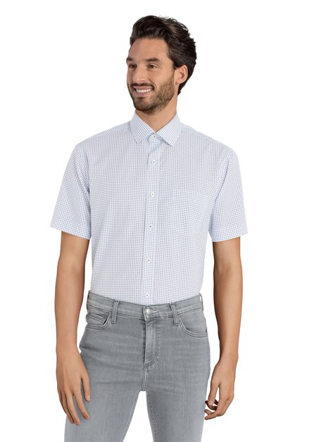 Wit hemd met blauw motief - Ramos - regular fit