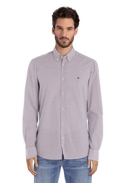 Wit hemd met blauw-rode blokjes - regular fit