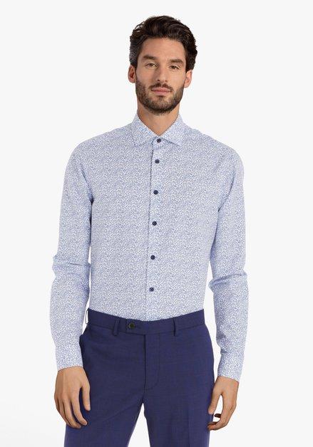 Wit hemd met blauwe bloemen - regular fit