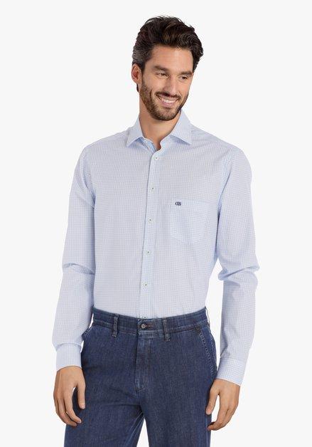 Wit hemd met blauwe blokjes – regular fit