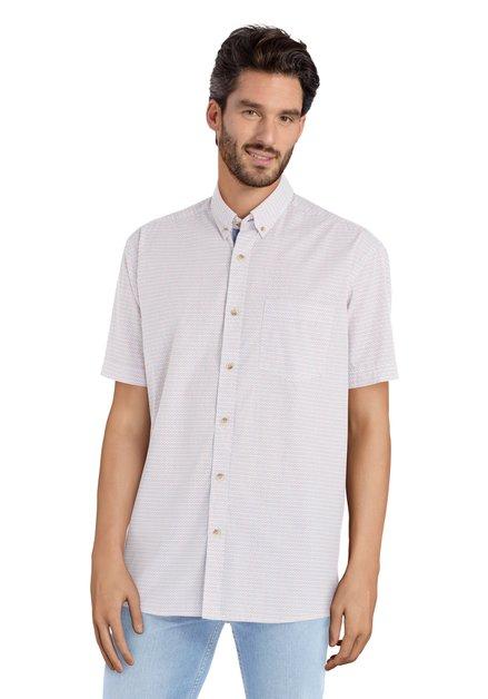 Wit hemd met blauwe en rode print – comfort fit