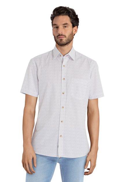 Wit hemd met blauwe en rode print – slender fit