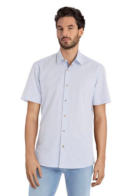 Wit hemd met blauwe fijne print – slender fit
