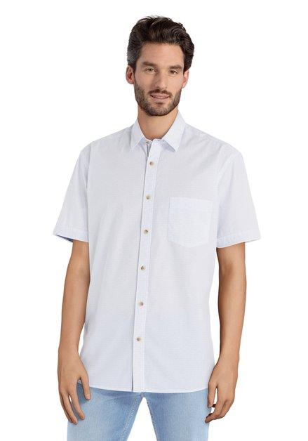 Wit hemd met blauwe miniprint – comfort fit
