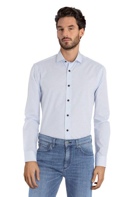 Wit hemd met blauwe miniprint –  slender fit