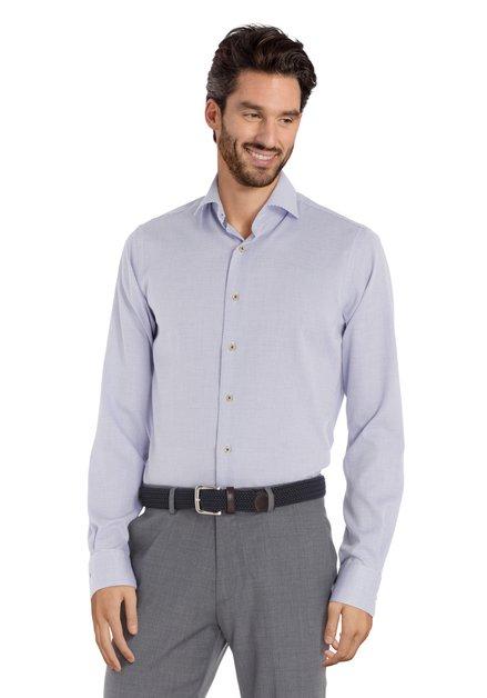 Wit hemd met blauwe print - slim fit