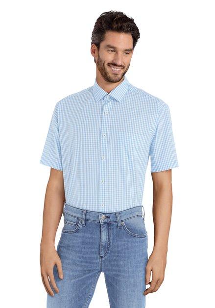 Wit hemd met blauwe ruiten - Corneel – comfort fit