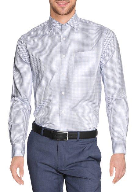 Wit hemd met blauwe ruiten - regular fit