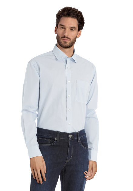 Wit hemd met blauwe stippen – comfort fit