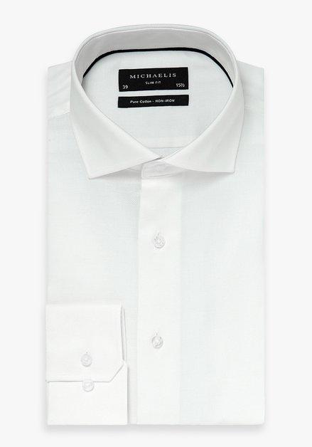 Wit hemd met fijne structuur - slim fit