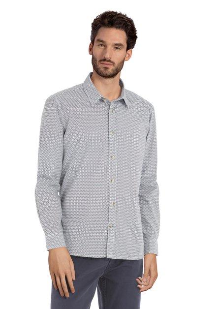 Wit hemd met geometrische print - slender fit