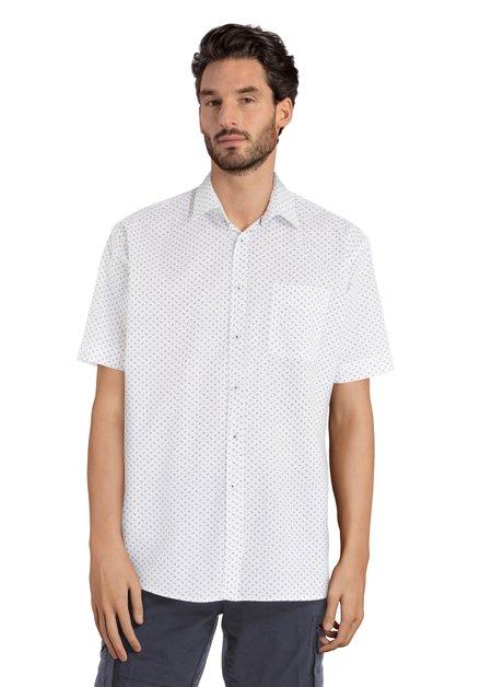 Wit hemd met groen-blauw minimotief - comfort fit
