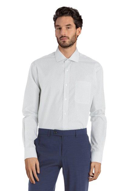 Wit hemd met groen motief – Claudio - comfort fit