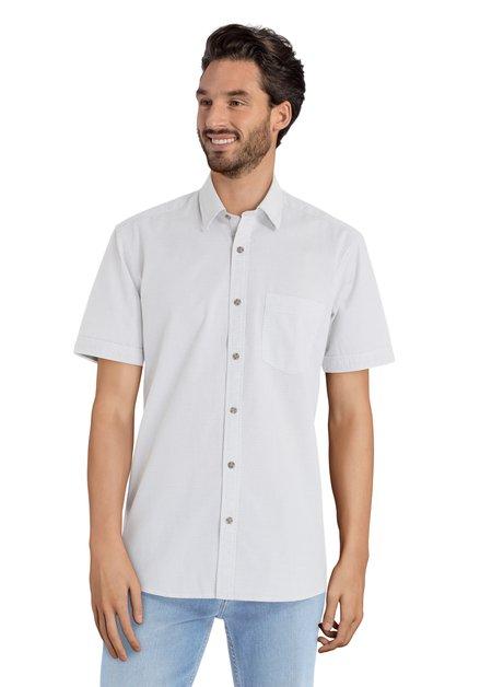 Wit hemd met groene fijne print – regular fit
